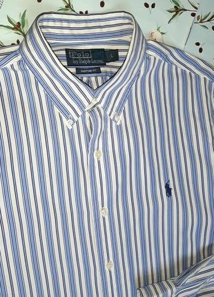 🎁1+1=3 белая рубашка в полоску с длинным рукавом ralph lauren оригинал, размер 48 - 509 фото