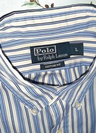 🎁1+1=3 белая рубашка в полоску с длинным рукавом ralph lauren оригинал, размер 48 - 507 фото