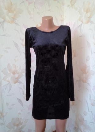 Симпатичное платье велюр в мелкую точечку