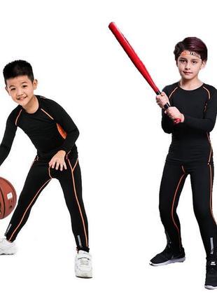 Термобелье детское black/orange c светоотражающими элементами (2873)