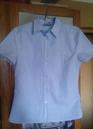 Стильная хлопковая рубашка с короткими рукавами в полоску от marc o polo