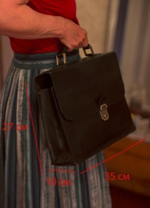 Сумка-портфель дипломат вінтаж чорний шкіряний otarie