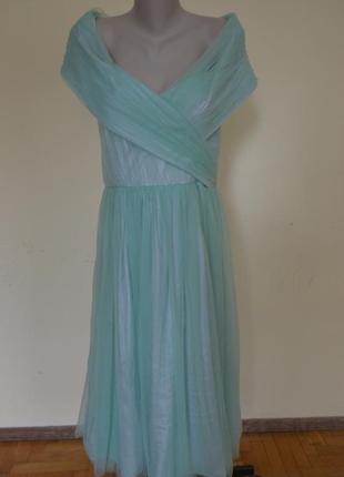 Очень красивое нарядное вечернее платье с открытой спинкой мятного цвета новое  от asos