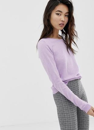 Лавандовая натуральная кофта тренд вискоза джемпер рубчик резинка гольф свитер