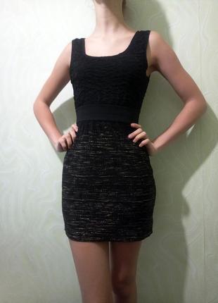 Мини платье h&m открытая спинка облегающее чёрное с золотым люрексом бандажное