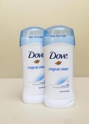 Dove original clean, дезодорант антиперспирант, 74 г., сша.