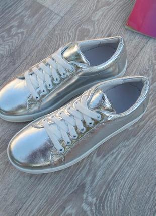 Стильные кеды серебро натуральная кожа31--40 размер