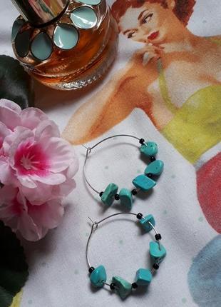 Серьги-кольца с бирюзой натуральной ручная работа
