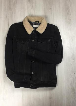 F9 джинсовая куртка с мехом topman топман топмен чёрная курточка