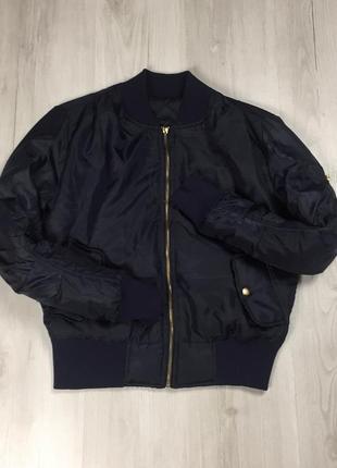 F9 бомбер утепленный темно-синий курточка ветровка