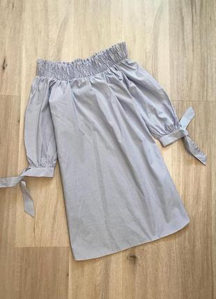 Нове натуральне плаття сукня в смужку платье на плечи полоска бавовна котон new look m