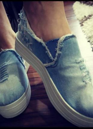Очень классные джинсовые слипоны