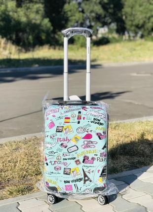 Франция! пластиковый чемодан для ручной клади с принтом  / валіза пластикова з малюнком