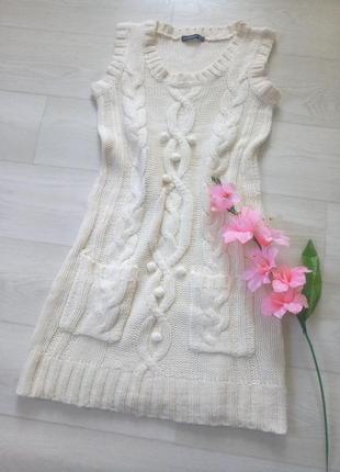 Платье туника atmosphere белая молочная вязаная с карманами тёплое повседневное