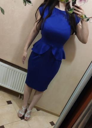 Синє,яскраве плаття, сукня платье з баскою. на корпоратив, на весілля, на випускний
