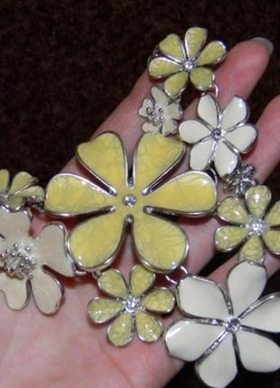 Элитная бижутерия колье pilgrim с цветами. эмаль