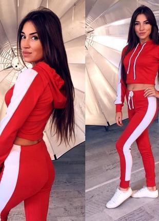 Женский спортивный костюм кофта укороченная+штаны 3 расцветки