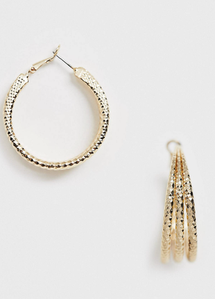 Стильні золотисті сережки потрійні кольца , серьги 💎з сайту asos