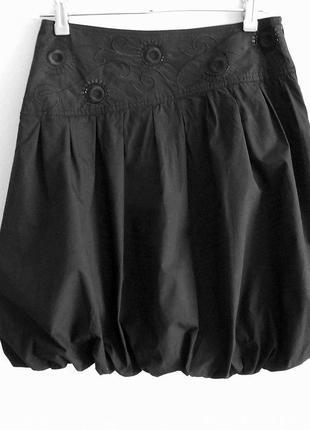 Юбка xanaka черная баллон тюльпан вышивка пайетки 100% хлопок натуральная легкая летняя