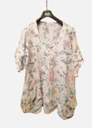 Блуза розы туника прованс бохо италия 💯 натуральный лен