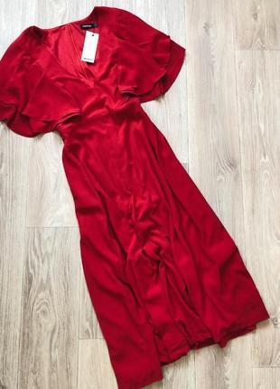 Красное платье миди с крылышками boohoo