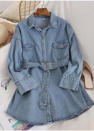 Крутая джинсовая туника платье с поясом