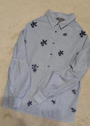 Рубашка 100% хлопок в полоску вышивка цветы длинный красивый рукав размер 8-10 primark