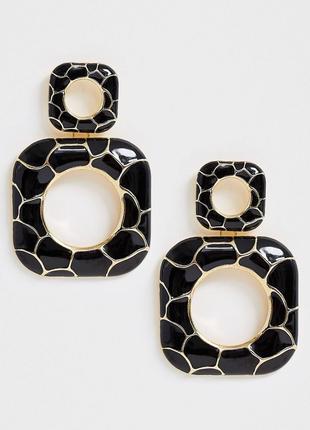 Стильні чорні сережки , серьги  💎з сайту asos