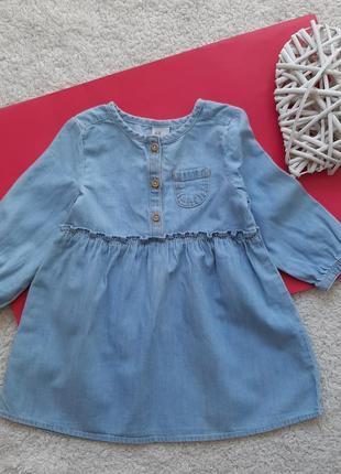 Джинсовое платье h&m для девочки 9-12 мес рост 80см