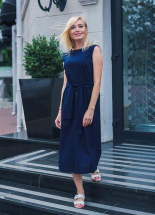 Платье летнее миди темно-синее