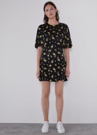 Платье из вискозы в цветочный принт zara