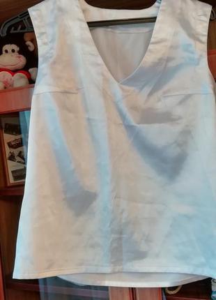 Ручной пошив, белая блуза на короткий рукав
