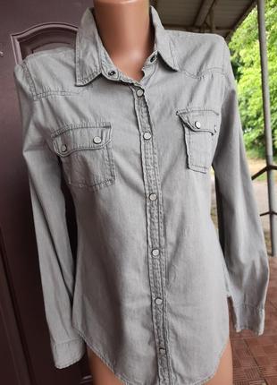 Хлопковая рубашка под джинс