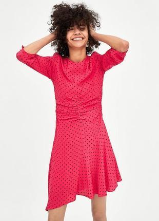 Розовое платье в горох zara