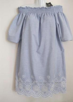 Блуза туника вышивка открытые плечи primark новая l