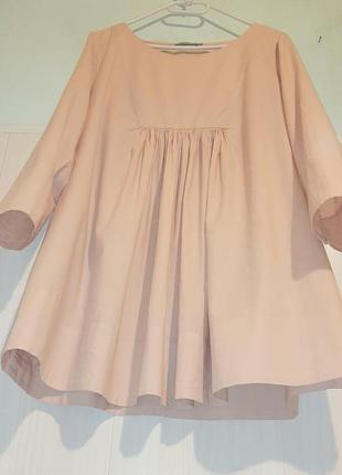 Пудровая натуральная блуза туника платье cos