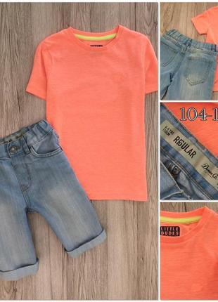Детские футболка и джинсовые шорты на 4-5 лет