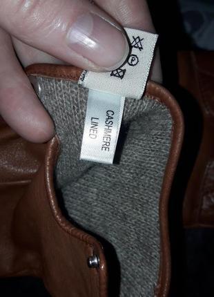 Кожаные перчатки  на кашемире,италия