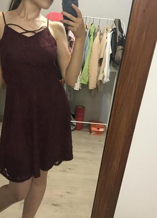 Платье летнее бордовое