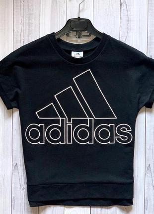 Женская спортивная футболка adidas чёрная адидас оригинал базовая майка
