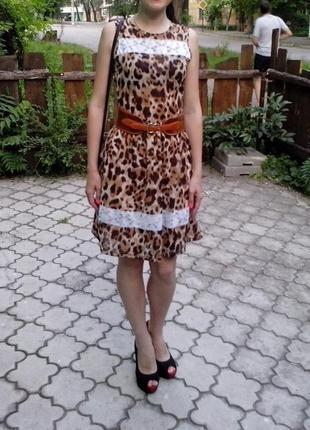 Платье леопардовое с кружевом в подарок еще одно платье
