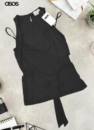 Новый черный топ с голыми плечами и вырезами asos