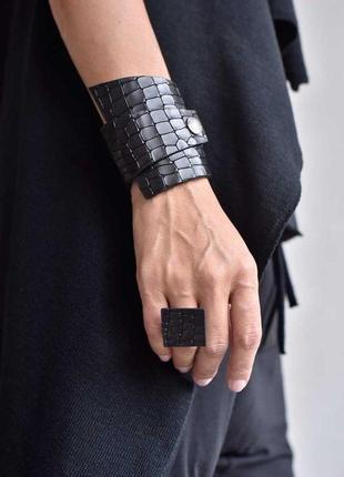Сет широкий кожаный браслет + кольцо .ручная работа, цвета и размеры