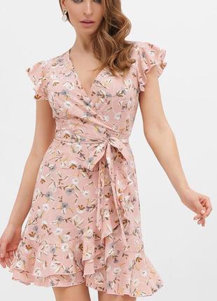 Платье женское на запах с цветами, в горох