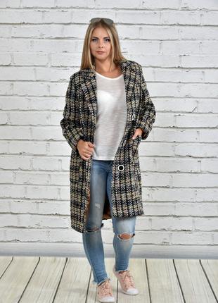 Пальто в клетку размеры 42-74