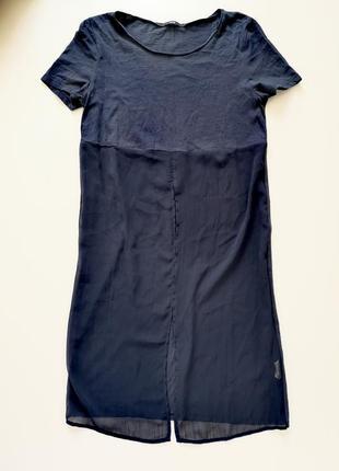 Длинная удлинённая прозрачная сетка футболка платье с шифоновой  вставкой с разрезом