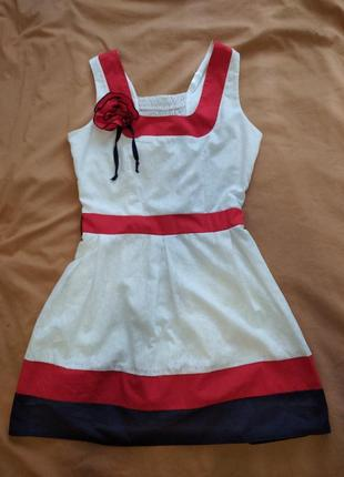 Платье белое летнее с пояском