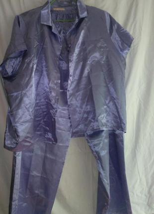 Пижама атласная женская фирменная бледно сиреневого цвета