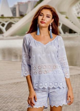 Пляжные женские шорты голубые с белой вышивкой прошва испания