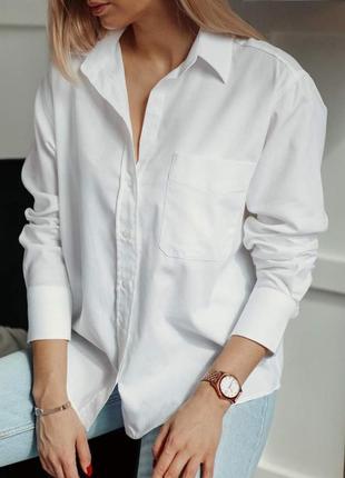 Базовая белая рубашка оверзайз с карманом, прямая, сорочка, блузка, бойфренд